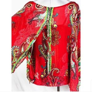 ECI Multi colored paisley blouse